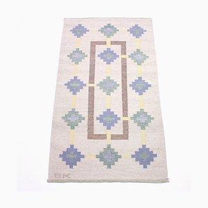 Flachgewebter Schwedischer Röllakan Teppich von GK, 1950er