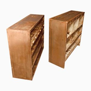 Industrielles Bücherregal oder Vitrinenschrank aus Metall, 2er Set