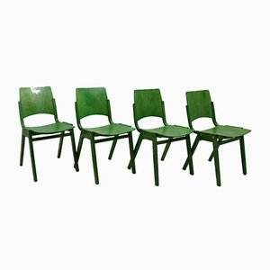 Vintage Green Stacking Dining Chairs by Roland Rainer, Vienna, 1952, Set of 12