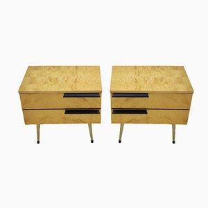 Tables de Chevet Modernes Mid-Century en Erable, Italy, 1960s, Set de 2