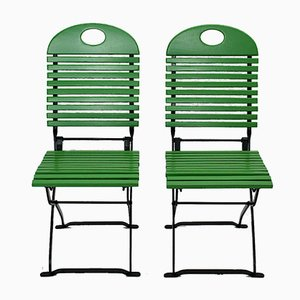 Green Garden or Patio Folding Chairs, 1980s, Set of 10