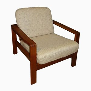 Solid Teak Chair with White Wool Fabric, 1970s