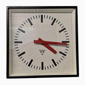 Czech Industrial Square Factory Clock from Pragotron, 1960s