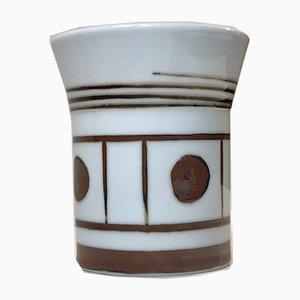 Grafische Porzellan Vase von Trude B. Jespersen für Bing & Grondahl, 1970er