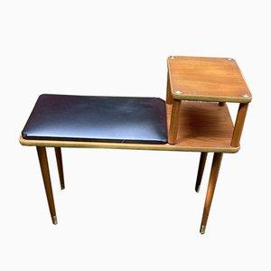 Vintage Teak Telefonbank mit Vinylsitz, 1960er