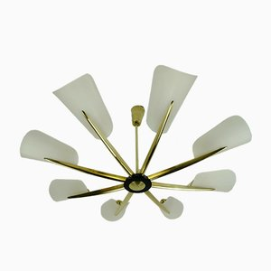 Large Mid-Century Acrylic & Brass Ceiling Lamp with 8 Arms, 1950s