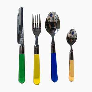 Vintage Italian Lucite and Stainless Steel Cutlery, 1970s, Set of 29