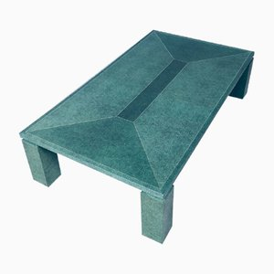 Postmodern Coffee Table in Faux Green Turtle Shell with Brass Inlay, Italy, 1980s
