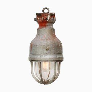 Lampe à Suspension Industrielle Vintage en Métal Gris et en Verre Transparent par Crouse Hinds