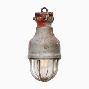 Vintage Industrial Gray Metal & Clear Glass Pendant Lamp by Crouse Hinds