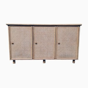 Mueble de salón, alacena o aparador italiano de ratán, años 70