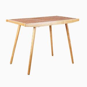 Tavolino Mid-Century in frassino e vimini di Uluv, anni '60