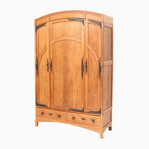 Oak Art Nouveau Arts & Crafts Gold Wardrobe Wardrobe by Gustave Serrurier-Bovy