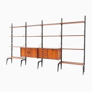 Large Mid-Century Modern Freestanding Modular Wall Unit by Louis Van Teeffelen for WeBe, Set of 19