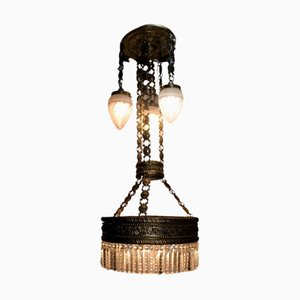 Modernist Hammered Brass Chandelier
