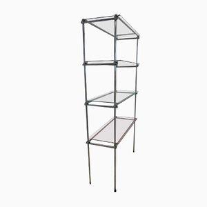 Chromed Metal & Glass Shelf Unit
