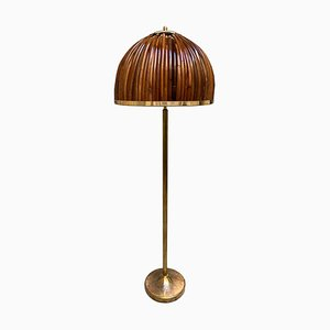 Brass and Rattan Floor Lamp, Italy, 1990s