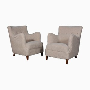 Danish Lambswool Lounge Chairs, 1940s, Set of 2
