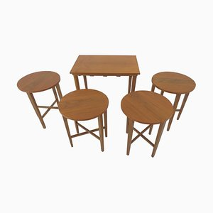 Mid-Century Set of Stools and Table by Poul Hundevad, Denmark, 1960s