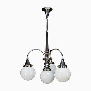 Lampadario Art Deco a 4 luci in metallo cromato, anni '30