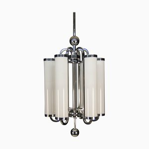 Large Bauhaus Chandelier with 6 Tubular Shades, 1930s