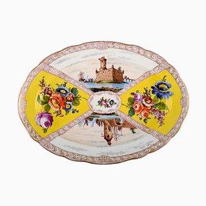 Grand Plat Antique en Porcelaine Peinte à la Main de Meissen, 19ème Siècle