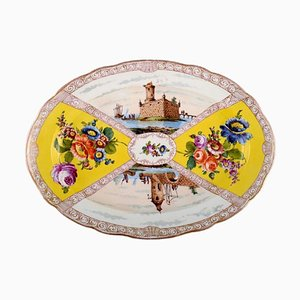 Large Antique Serving Dish in Hand-Painted Porcelain from Meissen, 19th-Century