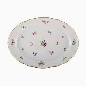 Grand Plat Antique en Porcelaine Peinte à la Main avec Fleurs de Meissen