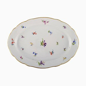 Large Antique Serving Dish in Hand-Painted Porcelain with Flowers from Meissen