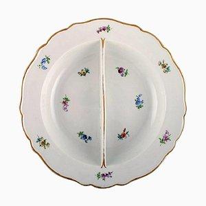 Grand Bol Rond avec Paravent en Porcelaine Peinte à la Main de Meissen