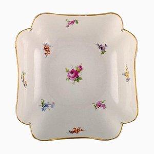 Bol Antique en Porcelaine Peinte à la Main avec Fleurs et Décoration Dorée de Meissen