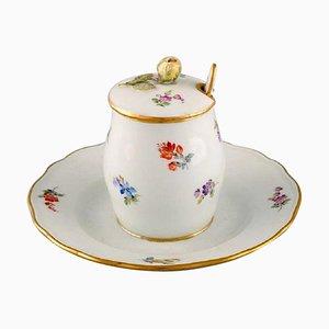 Pot à Moutarde Antique avec Cuillère en Porcelaine Peinte à la Main avec Fleurs de Meissen, Set de 2