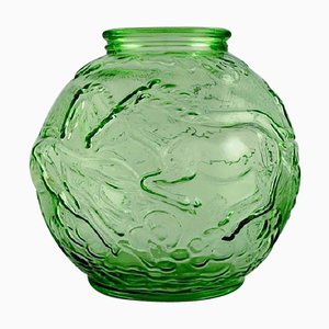 Round Art Deco Vase with Galloping Horses by Edvin Ollers for Elme