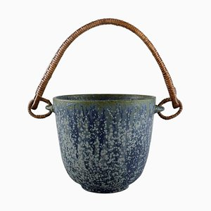 Ice Bucket in Glazed Ceramics with Handle by Arne Bang, Denmark