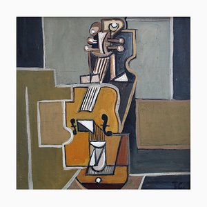 The Cello by J.G., 1960s, Oil on Canvas