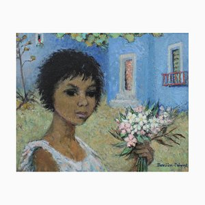 Girl with Flowers by Marguerite Barrière-Prévost, 1930s