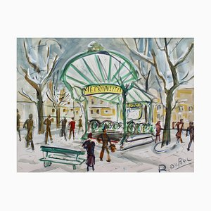 Pariser Metro Station Les Abesses Montmartre von Roland Dubuc, 1960er