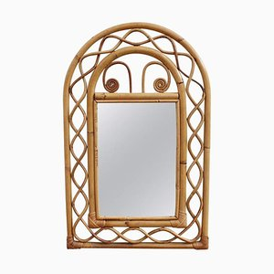Vintage French Rattan Wall Mirror, 1960s