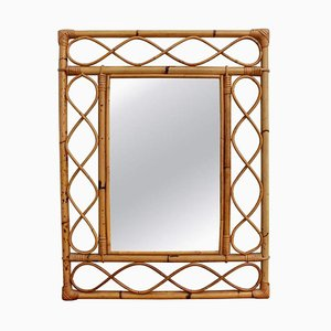 Vintage Rectangular French Rattan Wall Mirror, 1960s