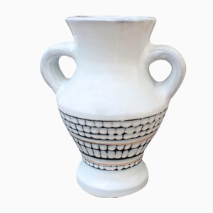 Vintage French Ceramic Vase with Handles by Roger Capron, 1950s