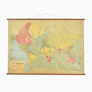 Large Vintage World Wall Map from Philips
