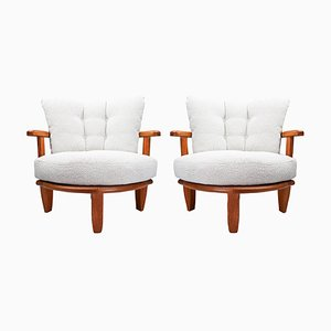 Knitter Chairs in Fabric Oak and Curly from Guilherme and Chambon, France, 1950s, Set of 2