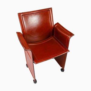 Korium Cognac Leather Armchair by Tito Agnoli for Matteo Grassi, 1970s