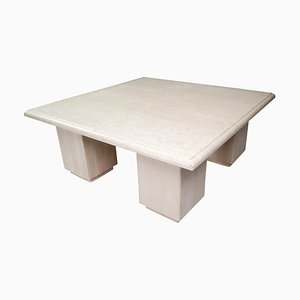 Postmodern Square Travertine Coffee Table, Italy, 1970s