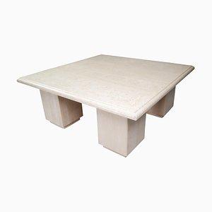 Table Basse Postmoderne Carrée en Travertin, Italie, 1970s