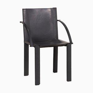 Sedia vintage in pelle nera di Matteo Grassi