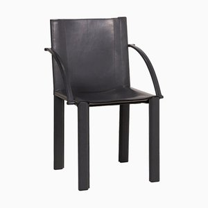 Vintage Black Leather Chair by Matteo Grassi