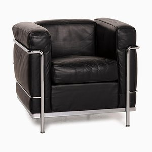 Cassina LC2 Black Leather and Chrome Armchair, 1928