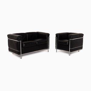 Cassina LC2 Black Leather Sofa Set, Set of 2