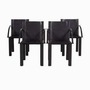 Black Leather Chair Set by Matteo Grassi, Set of 4